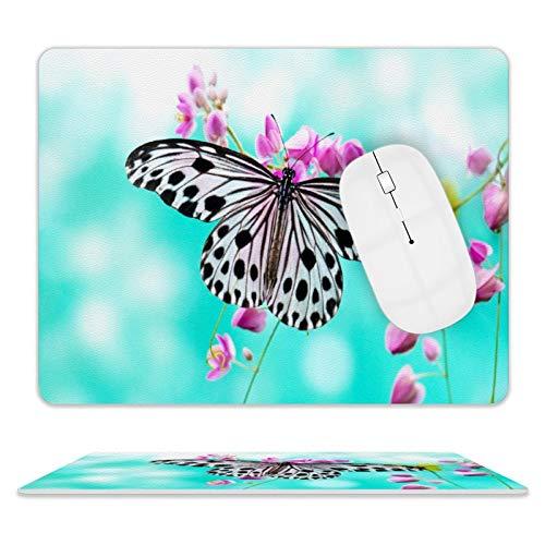 Lovely Butterfly - Alfombrilla de ratón de piel para escritorio y portátil, 25 x 20 x 2 cm
