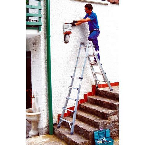 Frigerio Escalera profesional de alambre telescópico, aluminio, peldaños 8+8, capacidad 150 kg,...