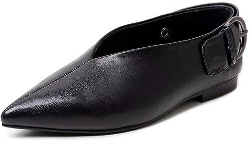 YZ-chaussures Chaussures de Mode paresseuses Chaussures à Bout Plat pour Les Femmes, Pointu Fond Souple Noir Plat avec des Chaussures pour Femmes