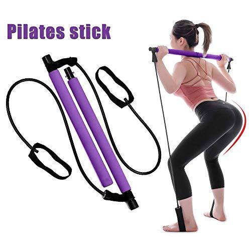 Kit de barra de pilates portátil Darlingcare, banda de resistencia al ejercicio de yoga Pilates Stick, equipo de fitness para mujeres con bucle de pie para entrenamiento de cuerpo completo