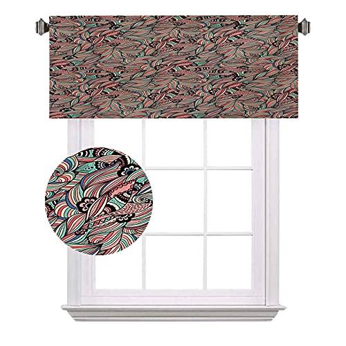 Cenefas cortas tradicionales, pétalos espirales de flores folk victoriano vintage colorido follaje ahorro de energía cortinas para cortinas de baño, ancho 120 x largo 12 pulgadas multicolor