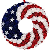 idyllic July 4th Wreath Patriotic Americana Wreath Boxwood Handcrafted Memorial Day Wreath Festival Garland Decoration Front Door Wall Home Decor (Blue)