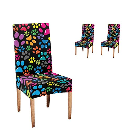 Anneunique CUXWEOT Chair Covers for Dining Room,Custom Colorful Dog Paw Protector Comfort Soft Seat Covers Slipcovers for Party Decor (Set of 2)
