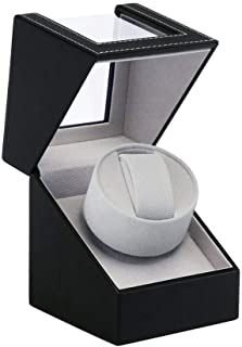Automatic Single Watch Winder, in Wood Shell and Black Leather/Carbon Fiber Leather, Japanese Motor (PU)