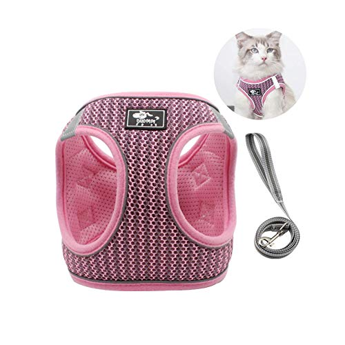 GHTMONY Dog Harness with Leash Set, Step-in Adjustable Anti-Slip Breathable Vest Harness with Leash Set for Small, Medium Dog Cat Outdoor Activity Accesories (XS, Pink)
