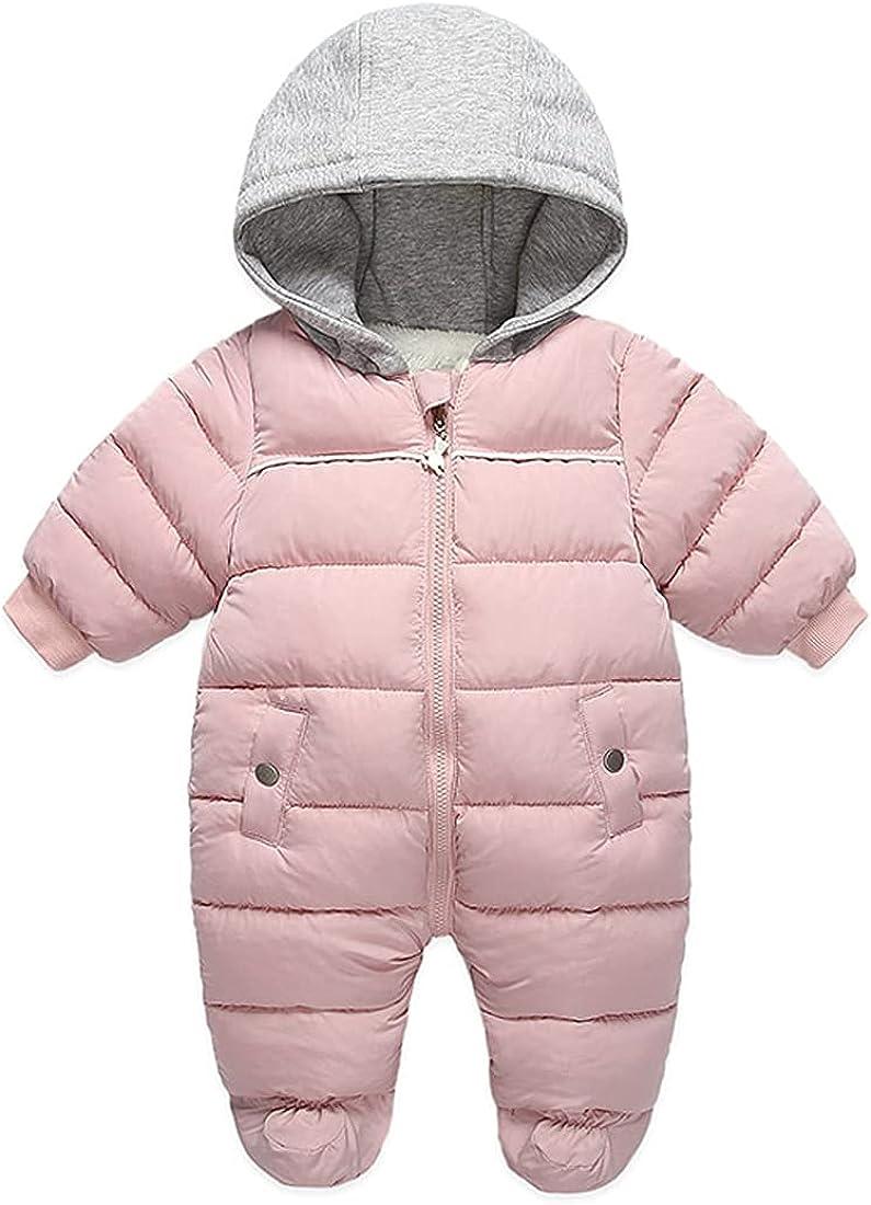 DINGDONG'S CLOSET Baby Boys Girls Winter Snowsuit Zipper Coat Romper Puffer Outwear Hooded Footie Padded Jacket