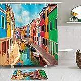 LISNIANY Conjunto De Ducha Cortina Alfombra,Edificios Coloridos de Venecia y Canal de Agua con Barcos Isla de Burano y la Laguna de Venecia,Uso en baño, Hotel