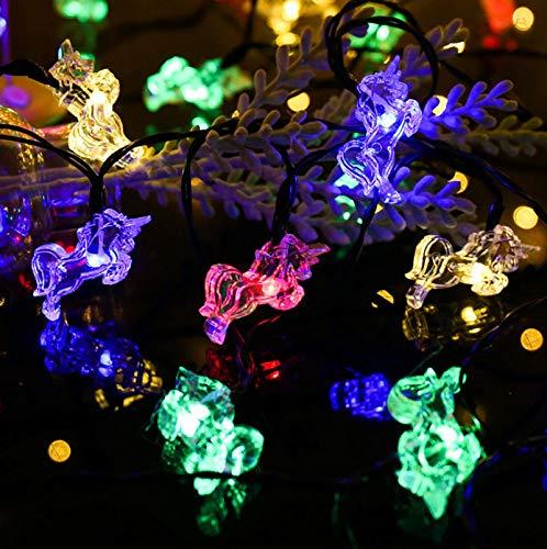 Cadena de luces de unicornio solar 6m 30LED 8 modos de iluminación Césped de jardín al aire libre Luces de cadena impermeables Luces de decoración navideña Multi