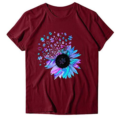 OPAKY Camiseta de mujer de tallas grandes, color girasol, impresión de manga corta, camiseta informal de verano con impresión de cuello redondo, Vino, L