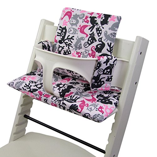 Bambini Mundo Funda de repuesto, cojín de Juego para trona/silla infantil stokke Tripp trapp, reductor de asiento (Diseño) weiß rosa pink Tiere