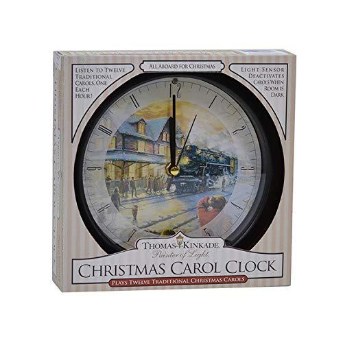 Mark Feldstein & Associates Wall Clock AA Alkaline Eight Inch Thomas Kinkade All Aboard for Christmas with Brown Frame