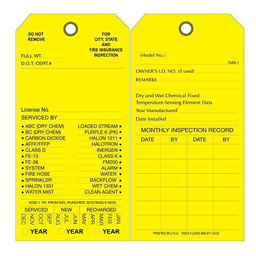 Custom Printed Fire Extinguisher Tags - Monthly Cards for Inspection - Maintenance Label Tag to Record Date Check - Alternative to Safety Sticker - Pack of 100 (Yellow, Cardboard)