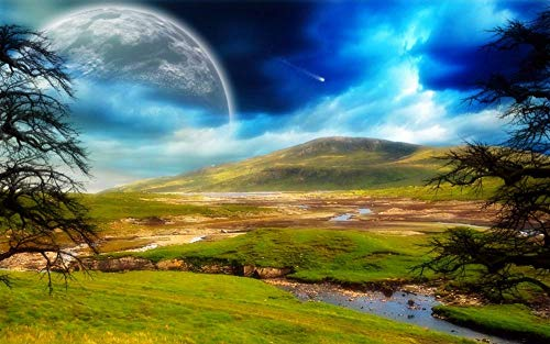 SHENQI- DIY 5D Diamond Painting by Number Kits, Crystal Rhinestone Diamond Embroidery Paintings 5D Full Drill Diamond Painting Kits,40 * 60Cm - Moonlight Mountain Landscape Poster