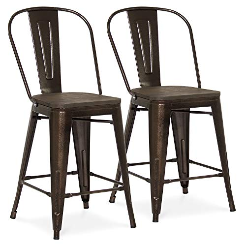 Best Choice Products 24in Set of 2 Modern Industrial Metal Counter Height Stools w/Wood Seat, High Backrest, Rubber Feet for Kitchen and Bar, Brown