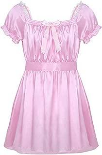 Men's Sissy Crossdress Lingerie Ruffled Frilly Satin High Low Dress Nightwear Pajamas