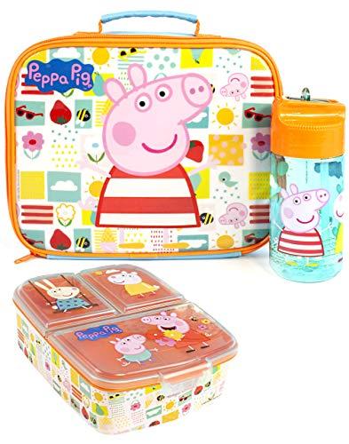 Peppa Pig Lunch Box Set (beutel, 430ml BPA-freie Flasche, Snackbehälter) Einheitsgröße