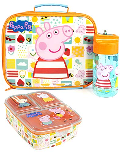 Peppa Pig Juego caja almuerzo (bolsa alimentos, botella, contenedor comida) Un tamaño