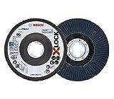 Bosch Professional 260925C117 Disco de láminas X-LOCK, Ø 125 mm, grano K80, diámetro de orificio Ø 22,23 mm, acodado, accesorio de amoladora angular, 80