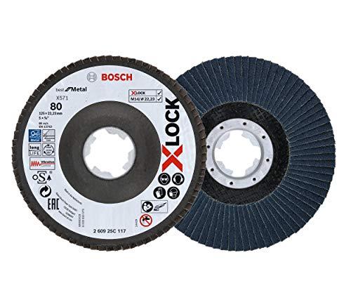 Bosch Professional 2 Stück Fächerschleifscheibe (X-LOCK, Ø 125 mm, Körnung K80, Bohrung Ø 22,23 mm, abgewinkelt, Zubehör Winkelschleifer)