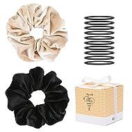 JJKKZVZ Premium Extra Big Velvet Hair Scrunchies for Women or Girls Hair Accessories with Gift Box, Elastic Hair Bands Scrunchy Hair Ties Ropes, Ponytail Holder