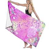 zhengshaolongG Toalla de baño Grunges Pink Hearts Beach Towels Microfiber Fast Dry Lightweight Towels For Swim Pool Camping 130X80CM,for Women Men