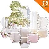 BBTO 15 Pieces Mirror Sheets Flexible Non Glass Mirror Plastic Mirror Self Adhesive Tiles Mirror Wall Stickers...