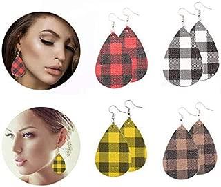 Leather Earrings Lightweight Faux Leather Leaf Earrings Teardrop Dangle Handmade Floral Leopard Print for Women Girls 4 Pairs …