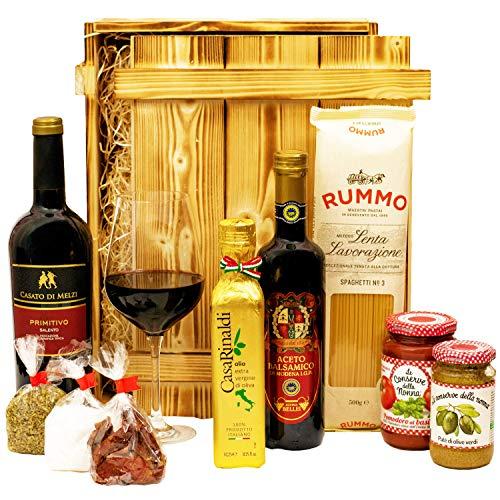 Geschenkset Florenz | Großer Italien Geschenkkorb mit Holzkiste, Wein und italienischen Spezialitäten | Präsentkorb italienisch gefüllt für Frauen & Männer