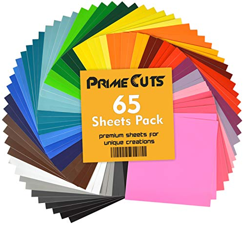 Permanent Adhesive Backed Vinyl Sheets by PrimeCuts USA - 65 Vinyl Sheets 12' x 12' - 65 Assorted Color Sheets for Cricut, Silhouette Cameo, and Other Craft Cutters