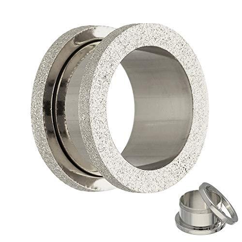 Treuheld® | Flesh Tunnel in Diamant-Optik - Silber - Größen: 3-20mm mit Gewinde zum Schrauben - Silberner Piercing Ohr Plug - Chirurgenstahl 316L Edel-Stahl - Fleshtunnel Piercingtunnel-Schmuck 12 mm