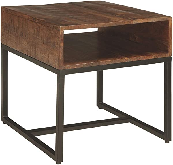 Ashley Furniture 签名设计 Hirvanton End Table Open Cubby Warm Brown