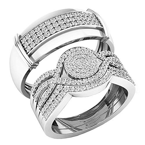 Dazzlingrock Collection 0.65 Carat (ctw) 14K Round White Diamond Men & Women's Engagement Ring Trio Set, White Gold