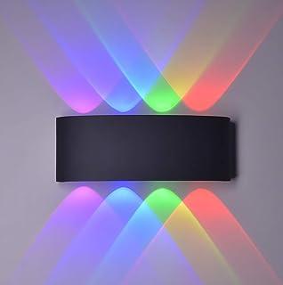 Led Wandleuchten Moderne Aussen/Innen IP65 Wasserdicht Wandbeleuchtung 8W, Up Down Spotlicht,Aluminium,Farbiges Licht(Schw...