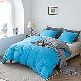 Ropa de cama Damier , 135 x 200 cm, amarillo, azul, reversible, juego de funda nórdica suave de microfibra monocolor, funda nórdica individual con cremallera, 1 funda de almohada de 80 x 80 cm