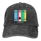 Cap Retro Cancún México Gorra De Mezclilla Ajustable Mujeres Cómodo Papá Sombrero Hombres Protector Solar Clásico Transpirable Impresión De Deportes Al Aire Libre Gorra De Béisbol