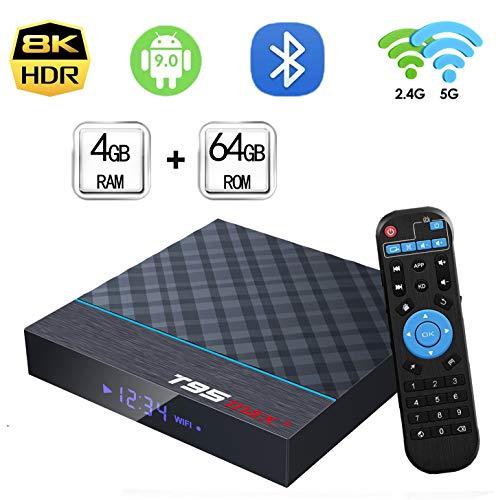 EASYTONE Android TV Box 9.0 4GB RAM 64GB ROM,T95MAX+ Android Box Amlogic S905X3 Quad-Core Dual Band WiFi 2.4G/5G BT4.0 4K8K 3D H.265 Decoding USB3.0 Internet Smart TV Box Media Player