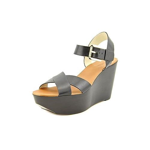 0fe86280f06d Michael Kors Peggy Wedge Womens Black Leather Dress Platform Sandals