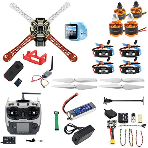 FEICHAO DIY RC Drone Kit F450-V2 FPV Quadcopter con Control Remoto AT9S Mini PIX Mini GPS Q6 4K Cámara de acción Gran Angular FPV Watch / FPV Goggles Kit Completo Drone Kit (FPV Watch Version)