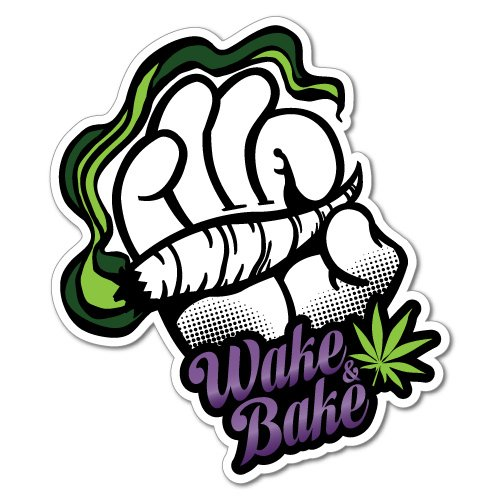 Wake and Bake Sticker Decal 420 Dope Car Funny
