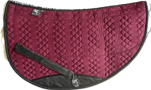 Engel Reitsport Lammfell Westernpad (Roundpad) Stoff Bordeaux rot Fell med./Natur Grösse M (Westernpad Round Aupolster)
