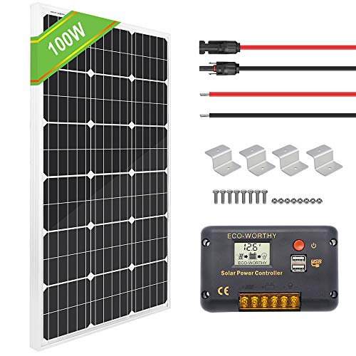 ECOWORTHY 12 Volt 100 Watt Monocrystalline Panels System + 20 A Charge Controller for Off-Grid 12 Volt Battery System, RV, Boat, Lighting