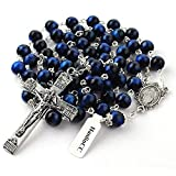 HanlinCC 8mm Natural Blue Tiger Eyes Gemstone Beads Miraculous 5 Dacade Rosary Necklace with Anti-Silver Catholic Crucifix Pack in Leather Gift Box