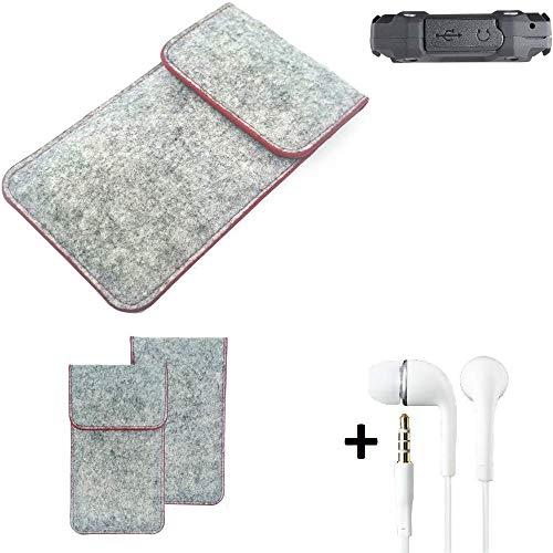 K-S-Trade® Handy Schutz Hülle Für Simvalley Mobile SPT-210 Schutzhülle Handyhülle Filztasche Pouch Tasche Case Sleeve Filzhülle Hellgrau Roter Rand + Kopfhörer