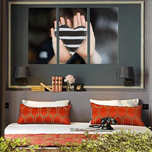 YJN 3 stuks canvas schilderij hart wit en zwart canvas muurkunstenaar woonkamer decoratie woonkamer olieverfschilderij frameloos M $ 120 60 * 75 * 3