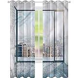 jinguizi Cortina de ventana opaca moderna vacía loft paisaje urbano W52 x L63 para decoración de niños cortinas personalizadas