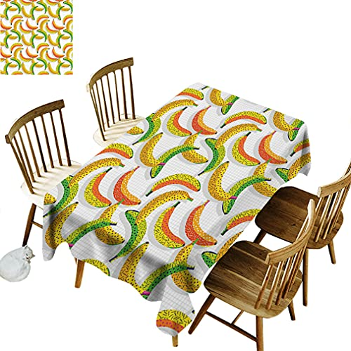 Vintage Rectangular Table Cloth, Retro 80s Fruit Fashion Banana Pattern Funky Hipster Illustration Wrinkle Free Oil-Proof Table Cloth, 60' x 104' Yellow Orange and Lime Green