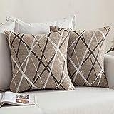 MIULEE Fundas de cojín para sofá Gamuza Sintética Almohada Caso de Diseño Geométrico Decorativas Fundas Cojines 18 x 18inch 45 x 45cm,2 Pieza Helado Marrón