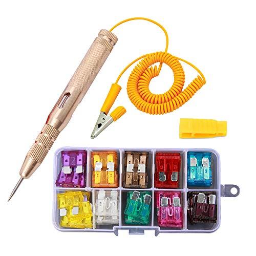 UILB Car Circuit Tester Pen, Auto Car Vehicle Circuit Tester DC 6V 12V 24V and Automotive Blade Standard Fuse Assorted Set 50pcs (2A 3A 5A 7.5A 10A 15A 20A 25A 30A 35A) +Fuse Puler