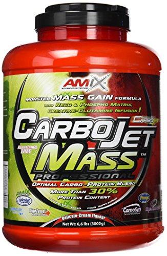 AMIX - Complemento Alimenticio - Carbojet Mass Professional - Carbohidratos y Proteínas para Aumentar la Masa Muscular - Concentrado Proteína de Suero - Recuperador Muscular - Fresa y Plátano - 3 KG