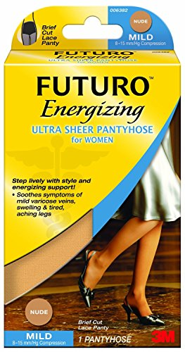 Futuro Pantyhose for Women, Mild Compression, Medium, Nude, Helps Improves Circulation to Help Minimize Swelling